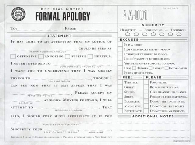 My Formal Apology